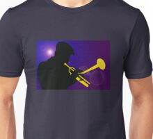 Silhouette of a Trumpet Player on a Blue / Purple Background Unisex T-Shirt