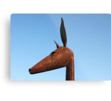 Rusty Kangaroo Head Metal Print