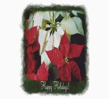 Mixed Color Poinsettias 2 Happy Holidays P1F1 One Piece - Short Sleeve