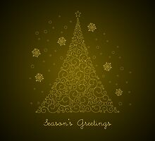 Gold Swirls Christmas Tree - Season's Greetings by RumourHasIt