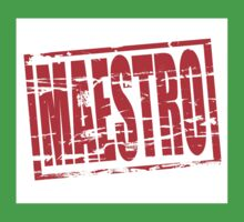 Maestro red rubber stamp effect Baby Tee