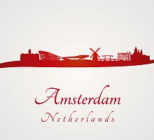 Amsterdam skyline in red and gray background by Pablo Romero