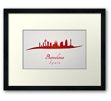 Barcelona skyline in red and gray background Framed Print
