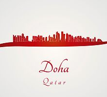 Doha skyline in red and gray background by Pablo Romero