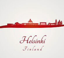 Helsinki skyline in red and gray background by paulrommer
