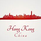 Hong Kong skyline in red and gray background by Pablo Romero