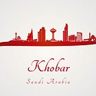 Khobar skyline in red and gray background by paulrommer