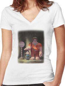 My Neighbor Stinkbrain Women's Fitted V-Neck T-Shirt
