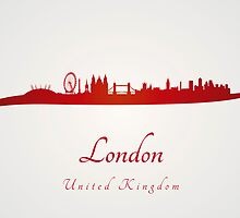 London skyline in red and gray background by paulrommer