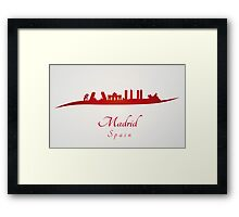 Madrid skyline in red and gray background Framed Print