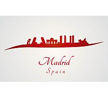Madrid skyline in red and gray background Photographic Print