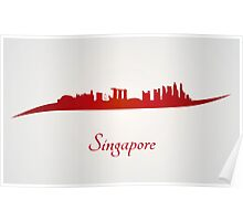 Singapore skyline in red and gray background Poster