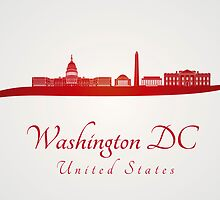 Washington DC skyline in red and gray background by Pablo Romero