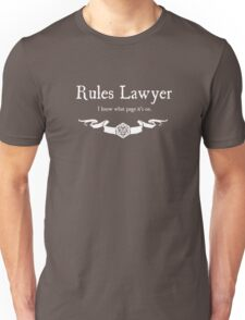 DnD Rules Lawyer - for Dark Shirts Unisex T-Shirt