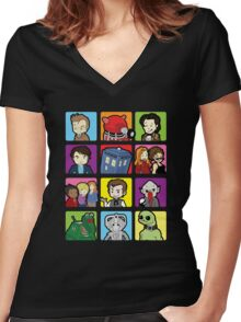 Doctor Squares Women's Fitted V-Neck T-Shirt