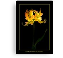 Green Wave Parrot Tulip Canvas Print