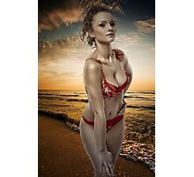 Gorgeous woman on the beach Photographic Print