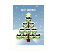 VW Camper Merry Christmas Tree Art Print