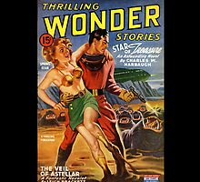 Retro Pulp Science Fiction comic cover  - Thrilling Wonder Stories by Jeff East