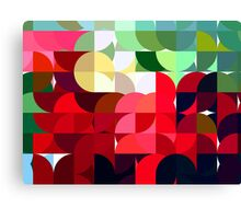 Mixed color Poinsettias 3 Abstract Circles 1 Canvas Print
