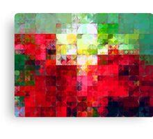 Mixed color Poinsettias 3 Abstract Circles 2 Canvas Print