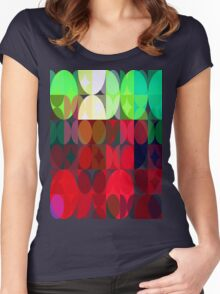 Mixed color Poinsettias 3 Abstract Circles 3 Women's Fitted Scoop T-Shirt