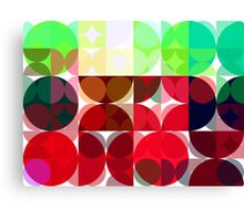 Mixed color Poinsettias 3 Abstract Circles 3 Canvas Print