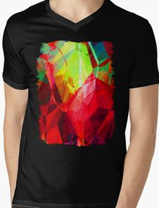 Mixed color Poinsettias 3 Abstract Polygons 1 Mens V-Neck T-Shirt
