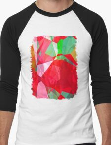 Mixed color Poinsettias 3 Abstract Polygons 2 Men's Baseball ¾ T-Shirt