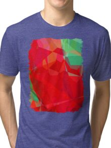 Mixed color Poinsettias 3 Abstract Polygons 3 Tri-blend T-Shirt