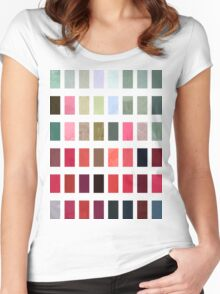Mixed color Poinsettias 3 Abstract Rectangles 2 Women's Fitted Scoop T-Shirt