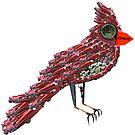 Steampunk Dada Cardinal (Red Cadillac Cardinal Bird Surrealist Collage) by Joseph Welte