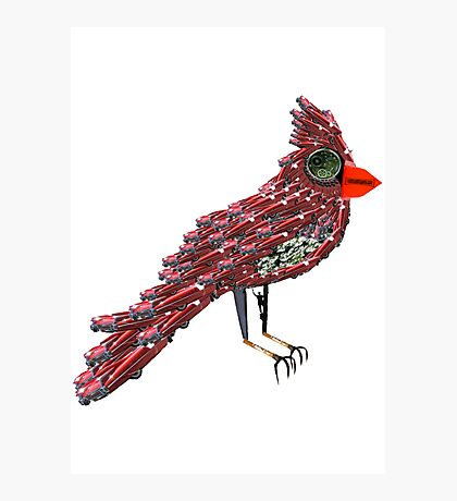 Steampunk Dada Cardinal (Red Cadillac Cardinal Bird Surrealist Collage) Photographic Print
