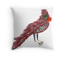 Steampunk Dada Cardinal (Red Cadillac Cardinal Bird Surrealist Collage) Throw Pillow
