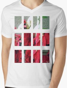 Mixed color Poinsettias 3 Art Rectangles 2 Mens V-Neck T-Shirt