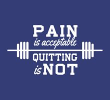 Pain is acceptable, quitting is not by workout