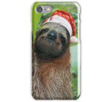 Christmas animal sloth wearing a santa hat iPhone Case/Skin