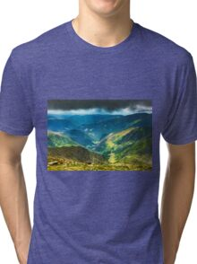 Mountain landscape on a cloudy summer day Tri-blend T-Shirt