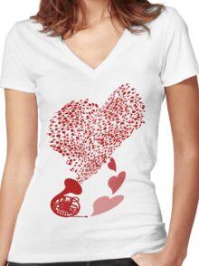 Horn_Music Women's Fitted V-Neck T-Shirt