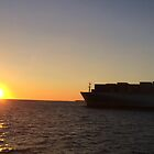 Cargo Ship long beach sunset by swylie