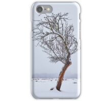 Lonely tree on snowy field iPhone Case/Skin