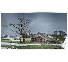 Landscape with abandoned wooden barn Poster