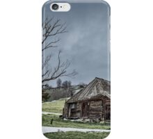 Landscape with abandoned wooden barn iPhone Case/Skin