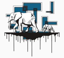 Elephant Walk (Blue) by Jack Rinderknecht