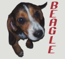 Beagle Puppy Sitting Down (Red Text) by SR-Designs