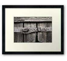 Old forged door latch Framed Print