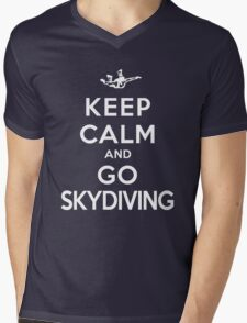 Keep Calm and Go Skydiving(DS) Mens V-Neck T-Shirt