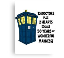 50 Years, 13 Doctors Canvas Print