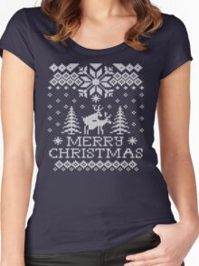 Ugly Sweater - Reindeer Humping Women's Fitted Scoop T-Shirt