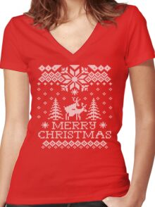 Ugly Sweater - Reindeer Humping Women's Fitted V-Neck T-Shirt